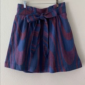 Anthropologie Cidra Pleated Skirt With Front Tie